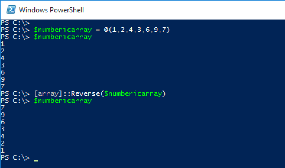 Reversing Numeric array