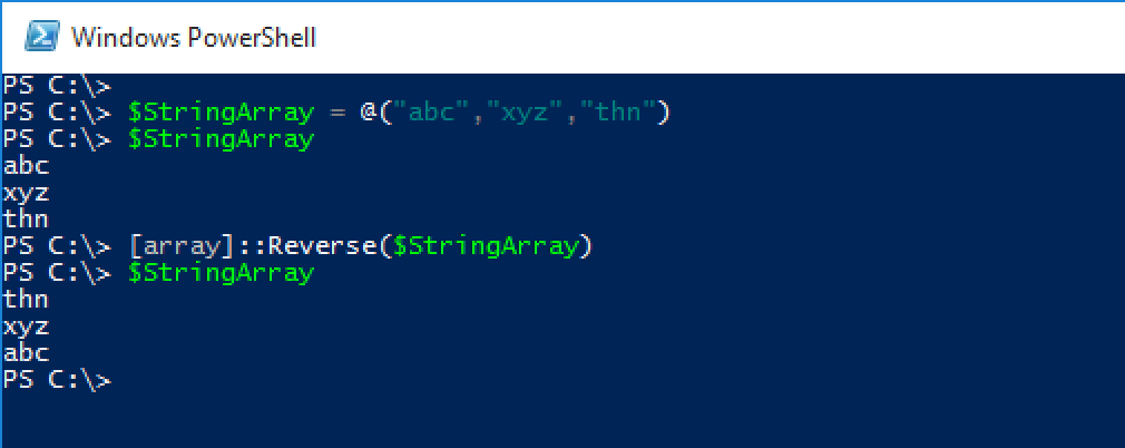 Reversing String Array