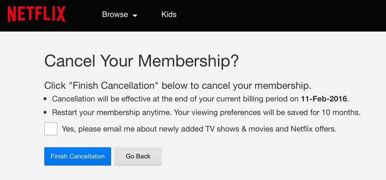 End Subscription Netflix