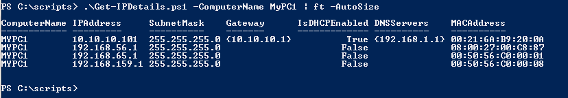 Powershell: Get IP Address, Subnet, Gateway, DNS servers and