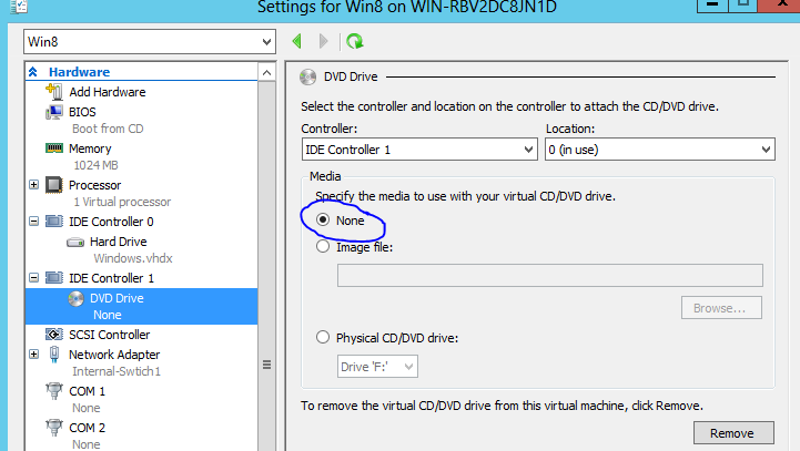 How to remove/disconnect ISO image file from Virtual Machine