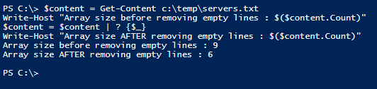 Remove empty items from array in PowerShell