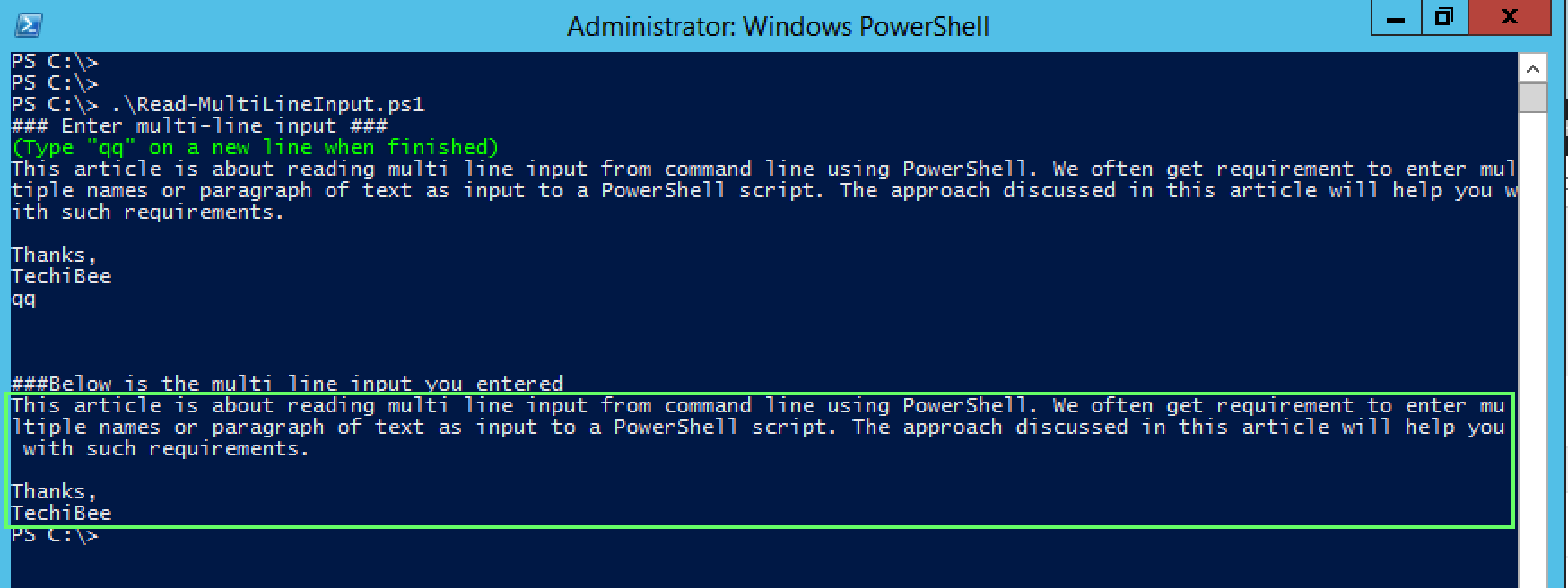 PowerShell: How to give Multi-line input to script