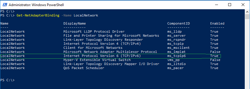 PowerShell: Disable IPv6 on network adapter in Windows