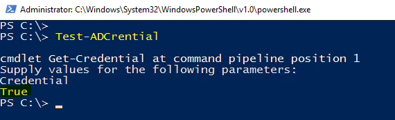PowerShell: Verify or test AD account credentials